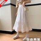 白色雪紡半身裙 女中長款裙 小個子荷葉邊 高腰a字魚尾 蛋糕裙 純色 自由角落
