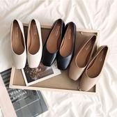 高跟鞋 方頭 淺口 低跟 粗跟 奶奶鞋 復古風 裸粉色 矮跟 上班鞋 四季鞋 快速出貨