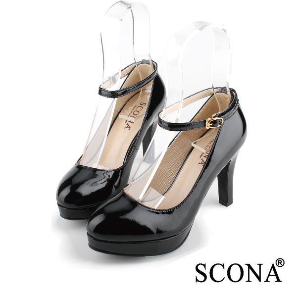 SCONA 全真皮 經典時尚前增高跟鞋 黑色 9934-2