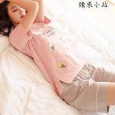 睡衣女夏短袖純棉少女兩件套
