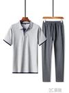 爸爸夏裝套裝休閒短袖男中年純棉T恤POLO衫中老年夏季半袖兩件套 3C優購