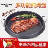 烤盤 韓式烤盤電磁爐家用不粘烤肉鍋無煙麥飯石燒烤盤圓形多功能煎鍋 古梵希DF
