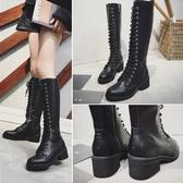 2019秋冬季新款韓版系帶過膝長筒靴女粗高跟加絨百搭顯瘦長靴子潮