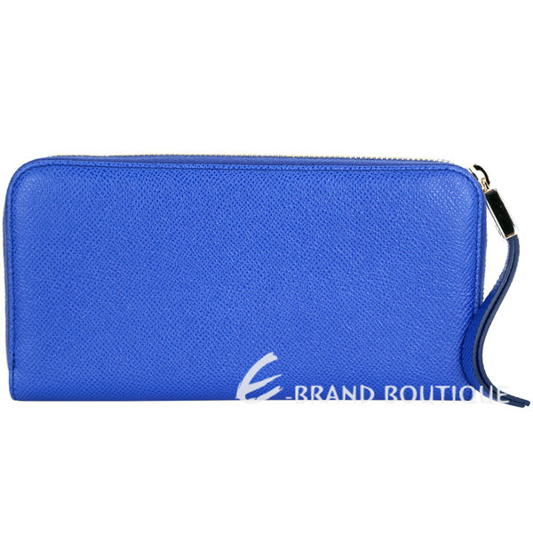 TOD'S Leather Zip 金屬牌飾內花布拉鍊長夾(藍色) 1710249-23