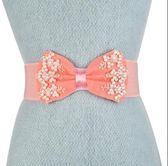 甜美手工蝴蝶結寬腰封女鬆緊裝飾連身裙子寬腰帶韓版皮帶夏