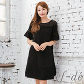 【ef-de】激安 鏤空花網五分袖蕾絲滾邊洋裝(黑)