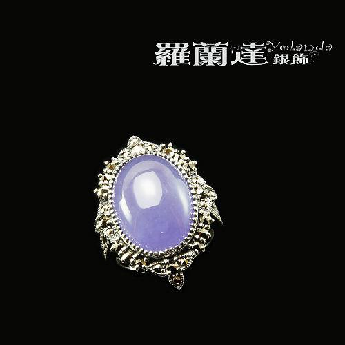 戒指925純銀。馬克賽石。紫玉髓 。復古戒指系列。宮廷風。戒圍11.5。內徑1.6CM【羅蘭達銀飾】