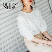 Queen Shop【01037297】簡約素色荷葉簍空造型袖棉質上衣*預購*
