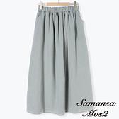 「Hot item」素面/格紋壓摺鬆緊腰長裙 (提醒-SM2僅單一尺寸) - Sm2