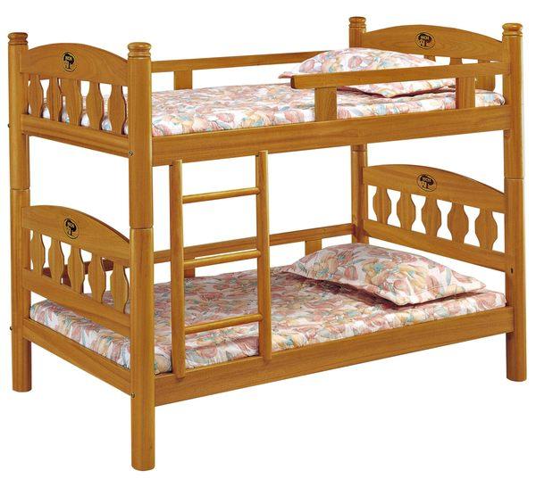【森可家居】3.5尺烏心石色雙層床 7JX64-1 實木 上下舖