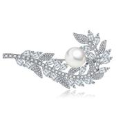 胸針 純銀鍍白金珍珠-葉子鑲鑽生日情人節禮物女胸花73cw29[時尚巴黎]