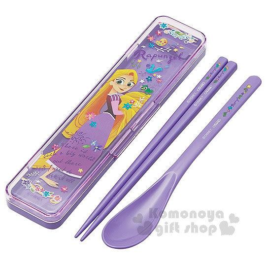 〔小禮堂〕迪士尼 魔髮奇緣 日製靜音盒匙筷組《紫.樂佩公主.Q版》掀蓋式.筷匙各一 4973307-37762