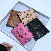 四色復古短款小錢包女2018新款歐美簡約印花錢夾軟皮夾手拿包卡包 東京衣櫃