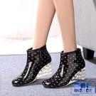 女士短筒雨靴高跟成人水鞋防滑坡跟膠鞋休閒雨鞋厚底雨靴【英賽德3C數碼館】