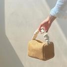 草編包 夏天草編包包女2021新款少女復古褶皺撞色手提方形包百搭斜背包潮