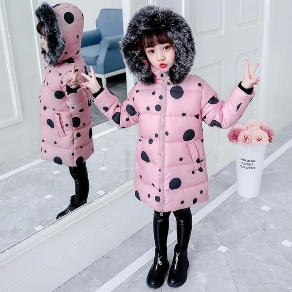 兒童夾克外套加絨棉服 潮流洋氣女童外套女孩棉襖 秋冬羽絨服潮流羽絨外套 韓版外套中大童上衣