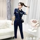 女士牛仔外套 春秋裝 流行韓版修身牛仔連體衣褲女裝 時髦套裝 自由角落