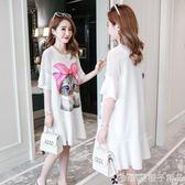 孕婦裝夏裝2018新款韓版夏季時尚款連衣裙潮媽卡通中長款上衣裙子 橙子精品