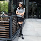 膝上靴 歐美時尚包腿長筒靴過膝長靴瘦腿彈力靴尖頭平底低粗跟高筒女靴子  魔法鞋櫃