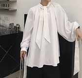 FINDSENSE H1 2018 夏季 新款 個性  領口袖口飄帶 長袖 襯衫