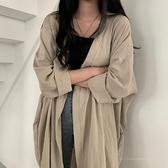 風衣薄款外套秋季女裝開衫薄款中長款防曬衣寬鬆長袖上衣-Milano米蘭