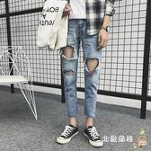 刷破牛仔褲夏季新品男士大破洞九分牛仔褲子男潮流刮爛學生日韓