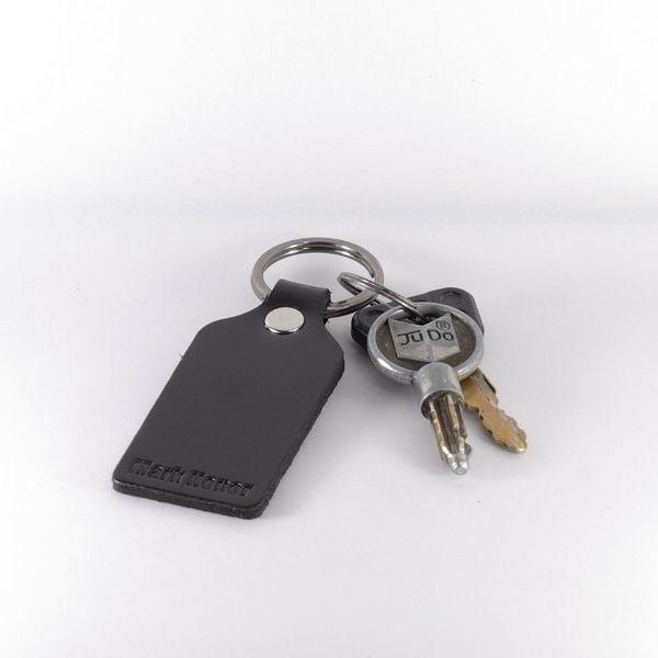 鑰匙圈 真皮 皮革 寛版 黑 -Mark Honor