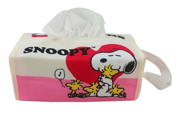 【卡漫城】 Snoopy 面紙套 粉愛心 ㊣版 史努比史奴比 面紙盒 吊掛型 桌上型 糊塗塔克 魔鬼沾式