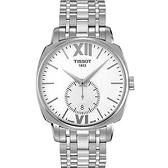 TISSOT 天梭 T-Lord 復刻羅馬小秒針手錶-白x銀/40mm T0595281101800