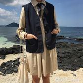 原宿風復古純色百搭BF工裝背心單排扣口袋馬甲學生上衣外套女學生