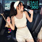 克妹Ke-Mei【ZT45316】男友最愛 心機系緹花蕾絲針織背心+花邊短褲套裝