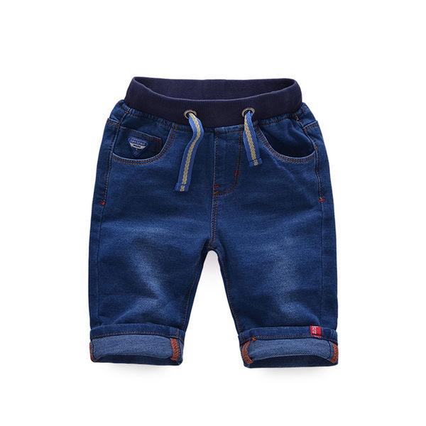 夏季男童 簡約款素色仿牛仔彈力伸縮腰圍五分褲.休閒褲~EMMA商城