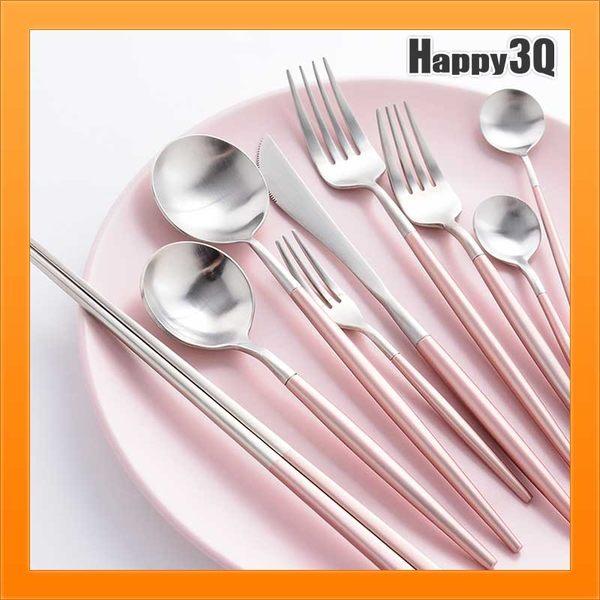 粉環保餐具304不銹鋼粉紅色少女牛排刀西餐刀叉筷子套裝創意-筷叉勺【AAA2589】預購