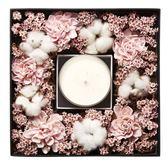 粉紅進口乾燥花薰衣草植物精油蠟燭禮盒