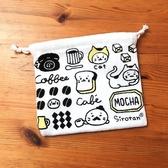 [熊熊eshop]日本 Sirotan 小白太郎 咖啡廳束口袋