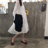 韓版夏季長袖甜美氣質白色V領綁帶連身裙