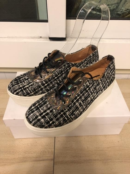 厚底懶人鞋潮款布鞋休閒鞋(23-24號/厚4.5/121-2846)
