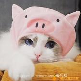 寵物豬豬頭套青蛙浣熊可愛貓咪小犬帽子萌搞怪頭飾裝扮萌【小橘子】