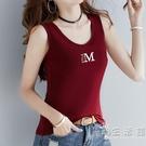 純棉2021新款小背心吊帶t恤女夏外穿內搭修身黑色無袖打底衫上衣 小時光生活館