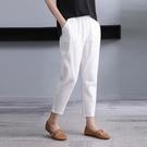 棉麻女褲高腰休閒褲韓版寬鬆顯瘦九分束腳蘿卜褲夏季薄款哈倫褲女 果果輕時尚