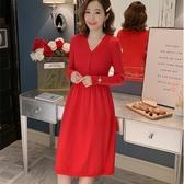 初心 韓系針織裙 【D9838】 針織 V領 開扣 彈力 毛衣裙 連衣裙 長袖 針織洋裝