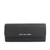 【MICHAEL KORS】防刮皮革薄款壓釦長夾(黑/灰)35F7STVE1T BLACK