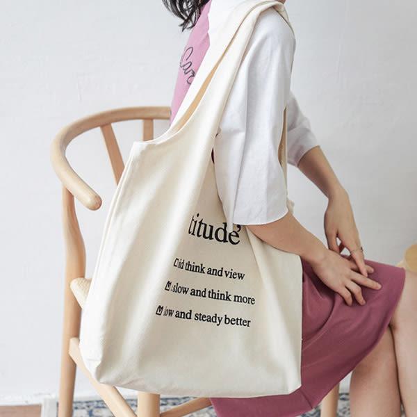 帆布袋 簡約 字母 帆布袋 文藝 手提袋 環保購物袋--手提/單肩【SPBX14】 ENTER  07/19