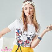 【SHOWCASE】俏麗刺繡花裝飾圓領棉質T恤(白)