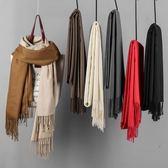 秋冬純色圍巾女冬季韓版百搭學生保暖黑色圍脖女冬薄款披肩兩用 居享優品