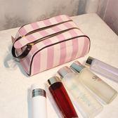 收納包 雙拉鍊 大容量化妝包洗漱包便攜手拿隨身旅行 化妝包