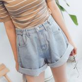 MUMU【P61535】百搭顯瘦牛仔捲邊短褲(可用鈕扣調整腰圍)。S-XL