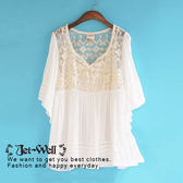 上衣 日系雪紡蕾絲刺繡五分袖上衣兩件組 3C8106 現貨 JET-WELL