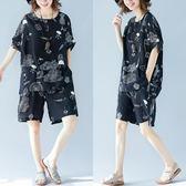 棉麻套裝女夏2019新款胖mm減齡顯瘦上衣短褲洋氣大尺碼遮肉兩件套潮