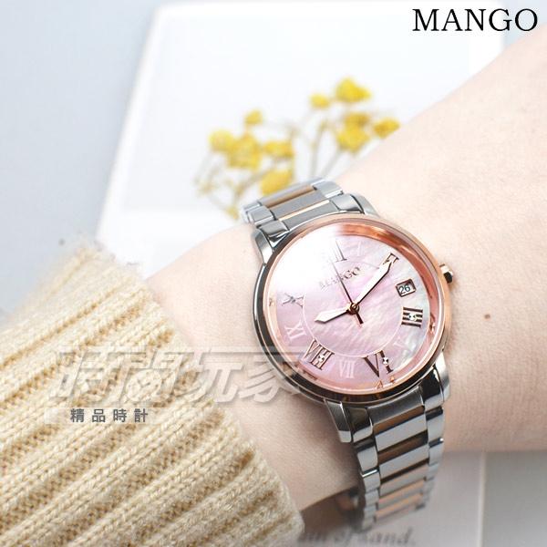 (活動價) MANGO 原廠公司貨 羅馬時刻 珍珠螺貝面盤 不鏽鋼女錶 防水 日期 玫瑰金x粉紅 MA6736L-11T